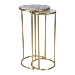 Round Dark Agate Side table, L31 x W31 x H59cm, gold and brown