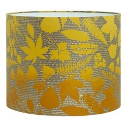 Falling Leaves Drum lampshade, W31 x H24cm, storm/turmeric ombre