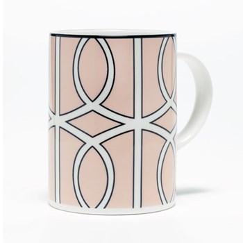 Loop Mug, 10.2 x 7.6cm, blush/white (black rim)