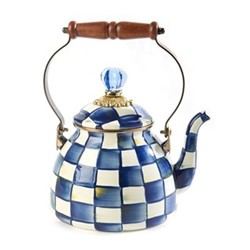 Royal Check Tea kettle, D17.78 H26.67cm, blue & white