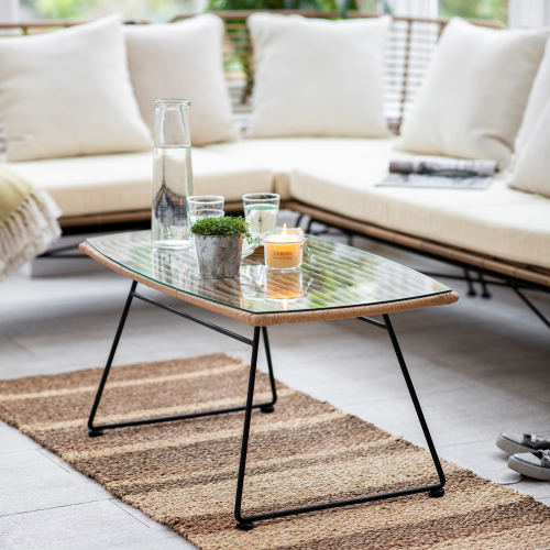 Hampstead Coffee table, H42 x D50 x W90cm, Natural/Bamboo