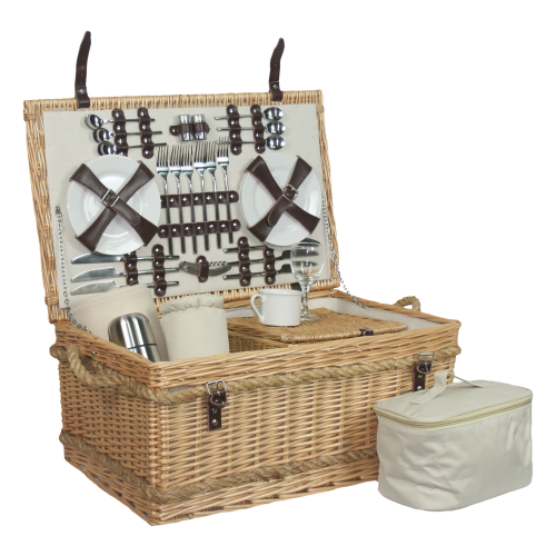 Rope Handled Picnic hamper - 6 person, 62 x 40 x 29cm, willow wicker