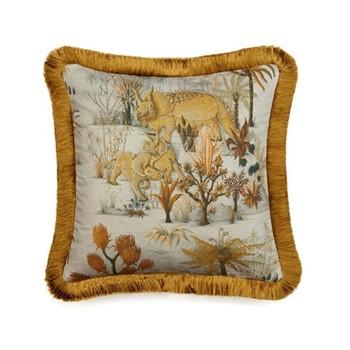 Dinosauria Linen fringed cushion, L45 x W45cm, dusk