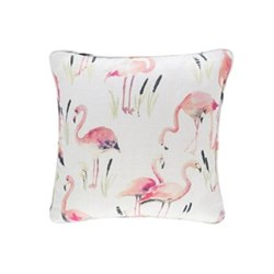 Fresh American - Flamingos Recycled polyester P.E.T. indoor/outdoor cushion, 56 x 56cm