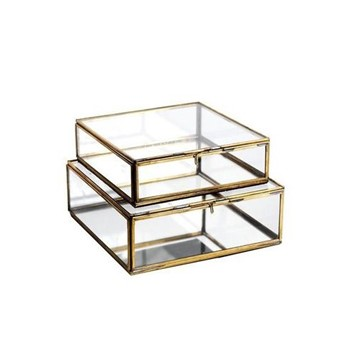 Bequai Box, 20 x 20 x 8cm, antique brass with mirror base