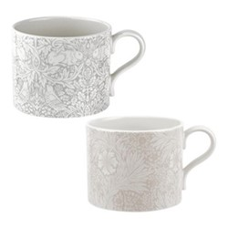 Pure Morris - Marigold & Brer Rabbit Pair of mugs, 34cl, grey/white