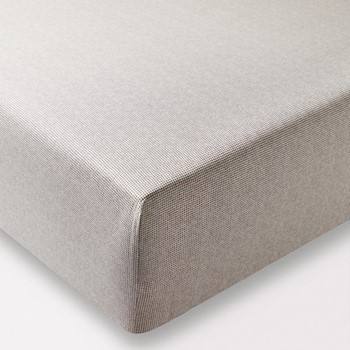 Dansu Double fitted sheet, L190 x W140 x H34cm, charcoal & linen