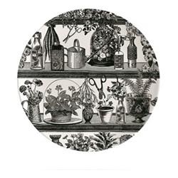 Botanist Plate, Dia20cm, black/white