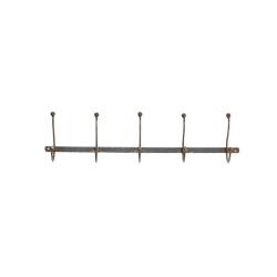 Rama Row of 5 hooks, 15 x 64 x 10.5cm, iron