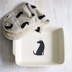 Labrador Baking dish, H6.8 x W36cm, black/white