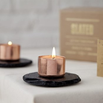 Candle holder, 10cm, copper & slate