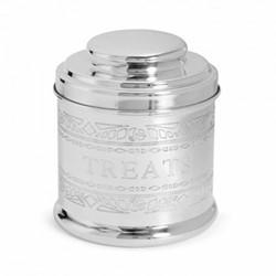 Audley Treats tin, H13 x W11 x D11cm, silver