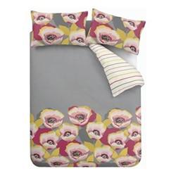 Modernist Poppy Double duvet set, 200 x 200cm, grey