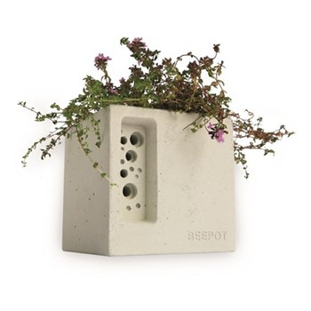 Mini Beepot Concrete planter and bee house, 10.5 x 10.5 x 10.5cm, concrete