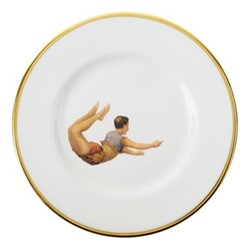 Trapeze Boy Lunch plate, 23cm, crisp white/burnished gold edge