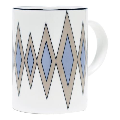 Diamond Mug, 10.2 x 7.6cm, Truffle/Cornflower Blue (Black Rim)