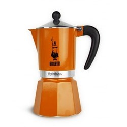 Rainbow Aluminium stovetop coffee maker, 6 cup, orange