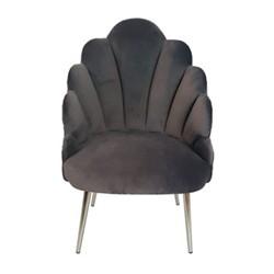 Chelsea Tulip Velvet chair, H95 x L65 x D65cm, dark grey with polished nickel metal