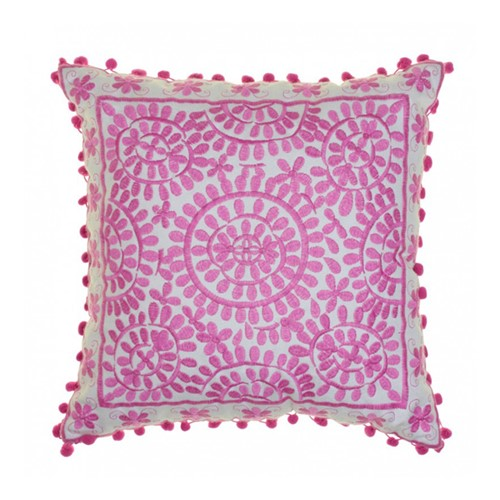 Souk Embroidered cushion, L40 x W40cm, Pink