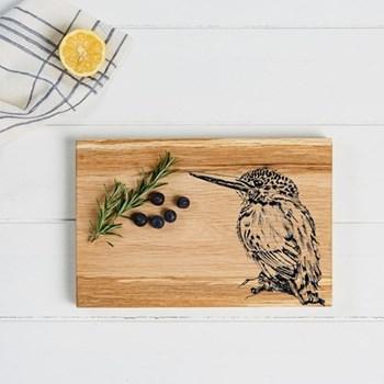 Kingfisher Serving board, 30 x 20 x 2.5cm, engraved illustration
