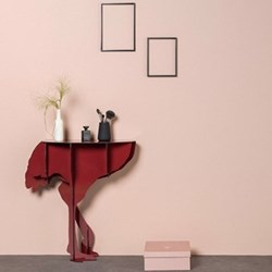 Diva Ostrich console table, H76 x L71 x W25cm, red