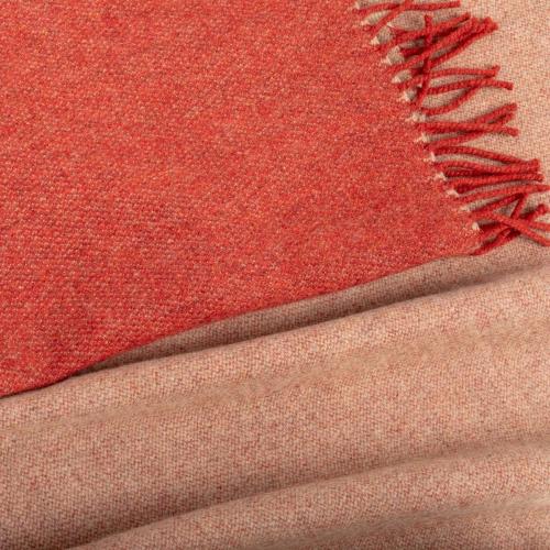 Two Tone Merino Throw, H150 x W180cm, Terracotta Red