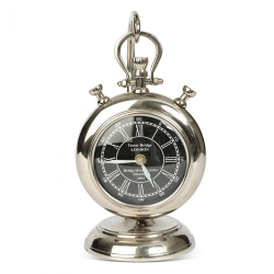 Desktop pocket watch with stand, 26 x 14 x 12cm, brass, aluminium and nickel plate