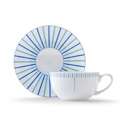 Burst Cappuccino cup and saucer, H7.5 x D11cm, blue/turquoise