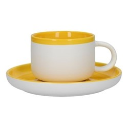 Barcelona Teacup and saucer, 290ml, mustard
