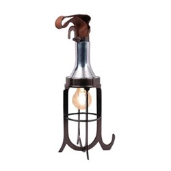 Stevedore's Table lamp, H40 x W12 x L12cm, brass/leather