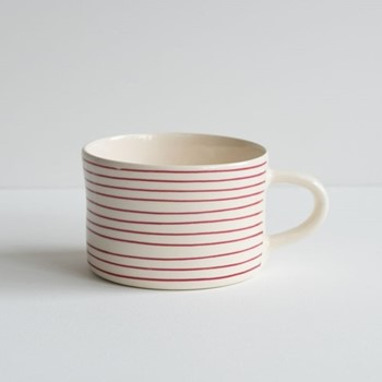 Horizontal Stripe Set of 6 mugs, H7 x W10.5cm, raspberry