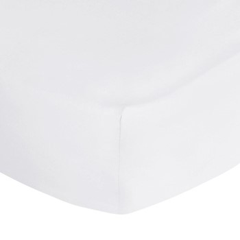 500 Thread Count Sateen Double fitted sheet, W135 x L190 x H35cm, white
