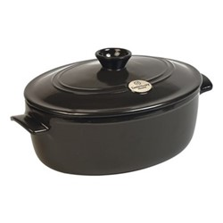 Oval casserole with lid, 31 x 25 x 18cm -  4.6 Litre, charcoal