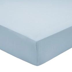 200TC Plain Dye Double fitted sheet, L190 x W120 x H32cm, sky