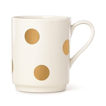 Deco dot Mug, stoneware with gold dots