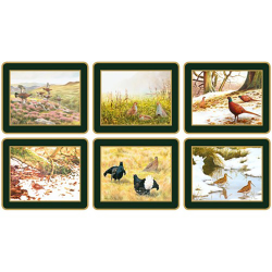 Traditional Range - Game Birds Set of 6 coasters, 11 x 9cm, bottle green