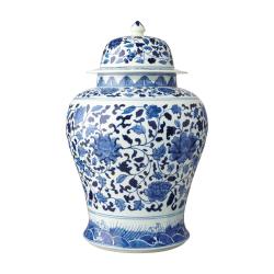 Mandarin Giant hand-painted lidded jar, D35 x H51cm, Pale Blue