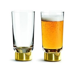 Club Gold Pair of beer glasses, H14.7cm - 33cl, clear