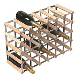 30 bottle wine rack, H43 x W62 x D23cm, natural/galvanised steel