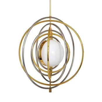Electrum Kinetic chandelier, Dia71.12cm, polished brass & nickel