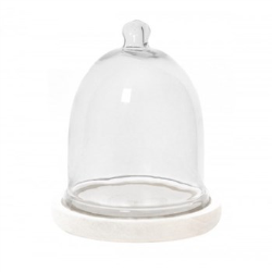 Glass cloche with wooden base, 15.75 x 20.5cm