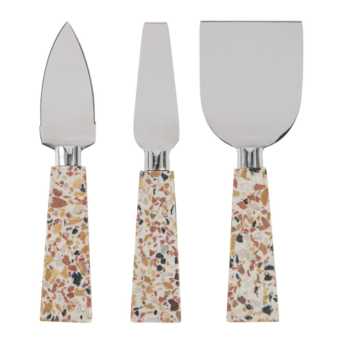Set of 3 cheese knives, 20 x 15cm, Terrazzo