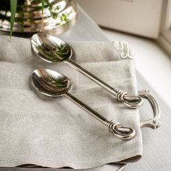 Polished Knot Pair of serving spoons, 24.5cm, Stainless Steel