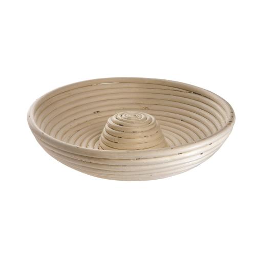 Round banneton basket with riser, 27.5 x 6cm, Natural Cane