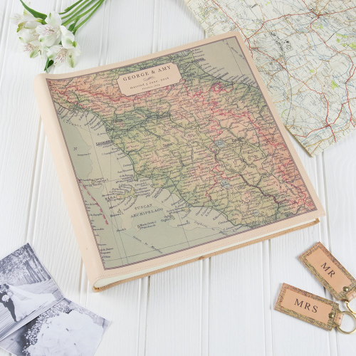 Large square photo album with personalised map cover, 35 x 35 x 6cm