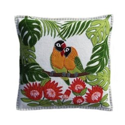 Tropical Love Birds Cushion, 38 x 38cm, cream