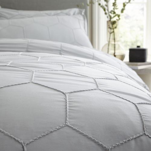 Honeycomb Double duvet set, Grey