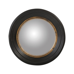 Oban Round mirror, D52cm, ebony stained wood frame