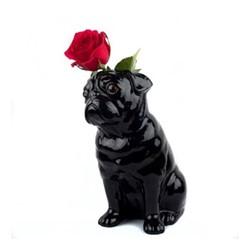 Pug Large flower vase, L12.5 x D21 x H22.6cm, black