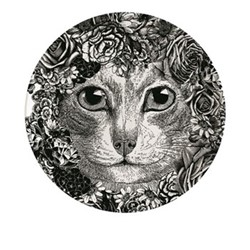Flower Cat Plate, Dia20cm, black/white